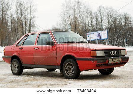 Smolensk, Russia - November 13, 2016: Audi 80 parked in winter street of Smolensk.
