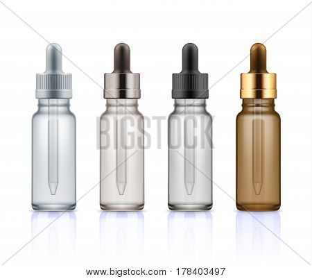 Set of realistic glass bottles with dropper. Cosmetic vials for oil, liquid essential, collagen serum. Mock up vector illustration isolated on white background. Brown, beige, black and gold colors.