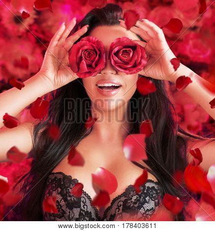 Spring woman. Beauty flower style portrait of a stunning brunette