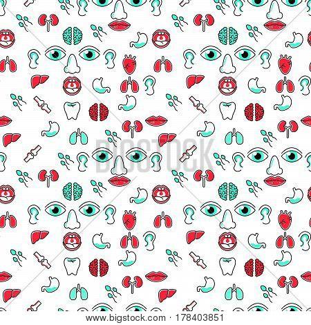 Human Organs Seamless Pattern