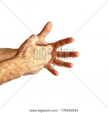 Hand with a rubber band. Isolated on white.
