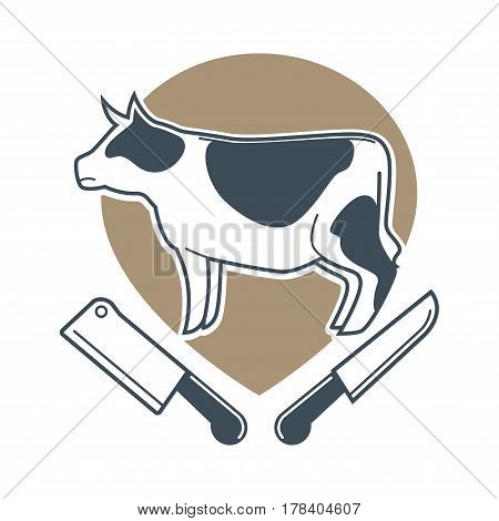 Butcher template logotype sign with white spotty cow and two meat knives under. Colorful label with big bossy and sharp elements for cutting beef. Animal product badge vector flat illustration