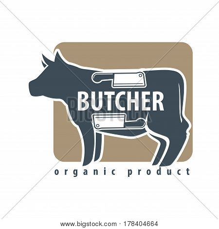 Butcher template logotype sign with black cow and two meat knives on silhouette. Colorful label with big bossy and sharp elements for cutting beef. Animal with cutlery units vector flat illustration