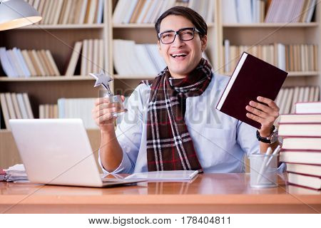 Young writer working in the library