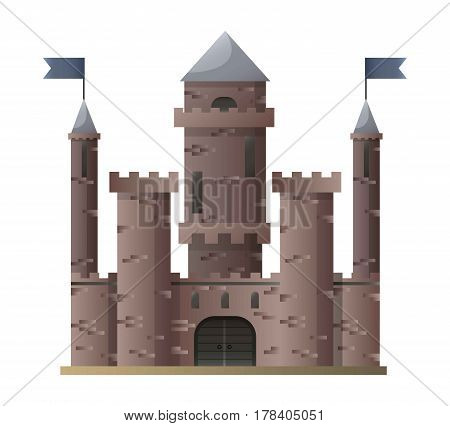 Dark brown cartoon medieval castle with high towers with flags on top isolated on white. Ancient brick building with big gates vector illustration in flat style. Old dwelling for royal nobility icon