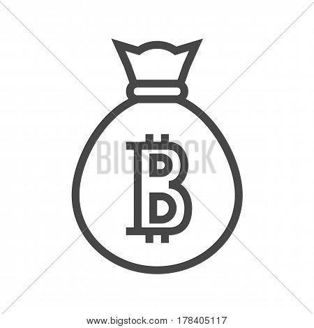 Money Bag with Bitcoin Thin Line Vector Icon. Flat icon isolated on the white background. Editable EPS file. Vector illustration.