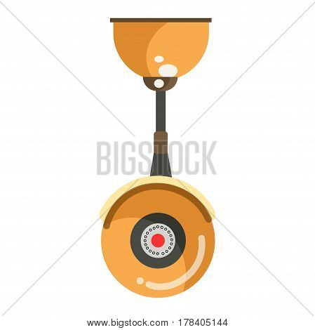 Security CCTV round yellow camera in inverted position isolated on white. Vector illustration in flat design of colorful surveillance technological device attached to ceiling by its black stem