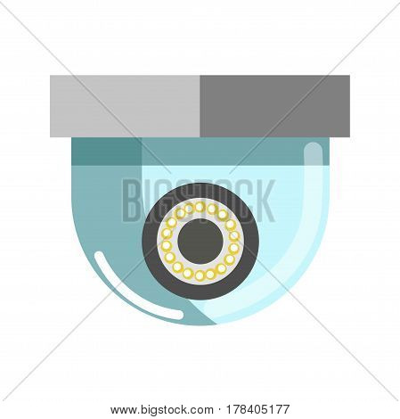 Security camera in round shape isolated on white. Vector illustration of surveillance technological device with artificial eye inside and with glass frame in inverted position for monitoring control