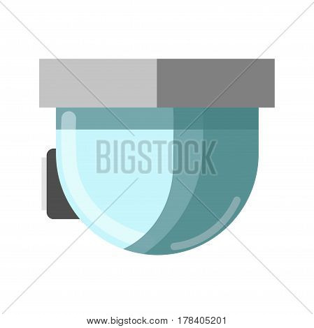 CCTV technological device made of glass and attached to ceiling, side view. Vector flat illustration of surveillance gadget in round shape for watching things. Element for offices and houses