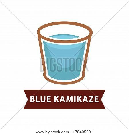 Blue Kamikaze of long drinks in old fashion goblet on white background. Cyan cocktail prepared from qualitative vodka, Blue Curacao, lime juice, ice cubes vector illustration of alcohol beverage.