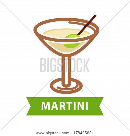 Martini drink in triangular glass with black straw isolated on white vector flat illustration. Colorful icon with cooling alcoholic cocktail for summer. Party symbolic beverage with its name below