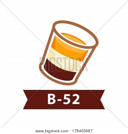 Layered cocktail B-52 from three liqueurs alcoholic drink on white background. Coffee liquor, creamy and strong orange noyaux in glass pile. Vector illustration of alcohol beverages flat style design