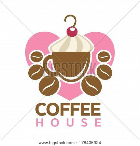 Coffee house colorful logotype sign isolated on white. Vector illustration of brown cup with milk foam on top and red cherry, scattered beans around on pink heart. Caffeine logo hot drink concept