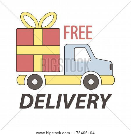 Express free delivery service logo concept vector sign. Illustration in flat design of auto carrying big gift box with yellow ribbon and bow. Colorful fast mean of transportation isolated on white