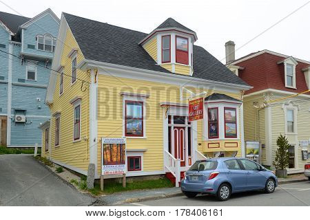 LUNENBURG, NS, CANADA - MAY 22, 2016: Daniel Richards Art Gallery in town center of Lunenburg, Nova Scotia, Canada. The historic town was designated a UNESCO World Heritage Site since 1995.
