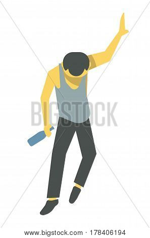 Drunk person vector illustration. Barely standing male cartoon character in shirt and sports trousers with empty alcohol bottle in one hand and holds wall with other isolated on white background.