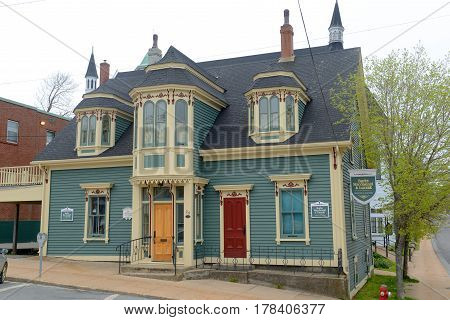 LUNENBURG, NS, CANADA - MAY 22, 2016: Historic Building in town center of Lunenburg, Nova Scotia, Canada. The historic town was designated a UNESCO World Heritage Site since 1995.