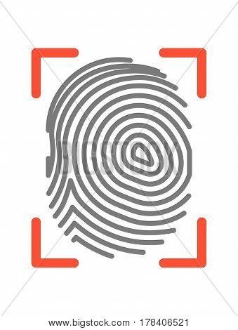 Fingerprint of twisted lines sign isolated on white vector illustration in flat design. Black dactylogram in red fragmentary frame. Person identification mark for documents and other purposes