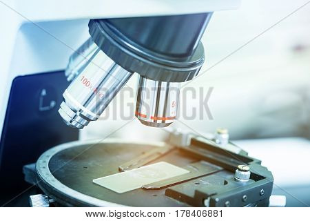 close up laboratory microscope science and research concept