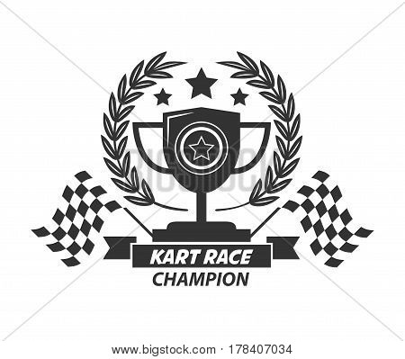 Karting logo with champion cup, laurel wreath, four stars and two checkered flags isolated on white. Kart race winner honors silhouette vector illustration in cartoon style flat design logotype label.