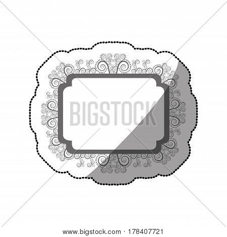 sticker gray scale curved rectangle vintage baroque frame vector illustration
