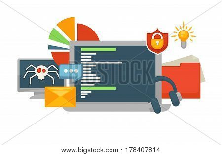 Monitor with hacked data base and tablet screen with safe information due to installed security program isolated on white. Set of icons in modern computer technology concept vector illustration.