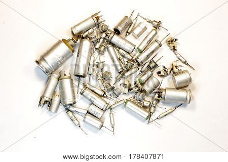 Radio components - a set old of capacitors