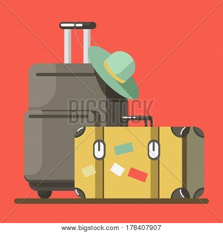 Suitcase on wheels with hat on it and old fashioned valise isolated on red background. Baggage ready for summer vacations abroad vector illustration. Heavy luggage for long journey in flat style