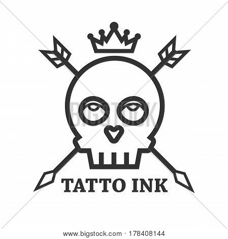 Tattoo ink black skull isolated. Vector illustration in flat design of human head bone dark lined sign with eyes and teeth, crossed arrows and crown. Symbol of death, tattooist studio or salon logo