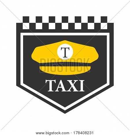 Taxi logo with black and white checkers, driver cap symbol on white background. Yellow headdress with visor and letter T in center. Vector illustration of service car emblem for promotion transportation service