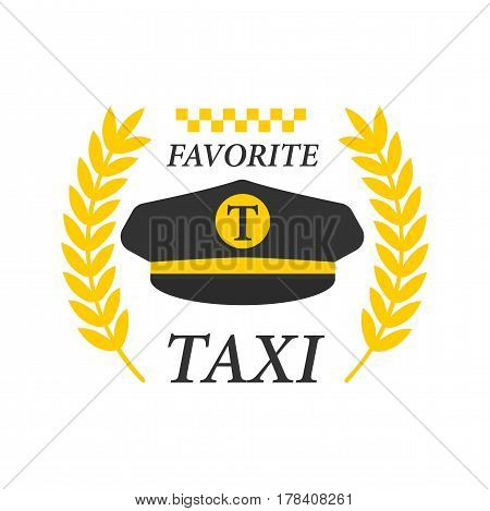 Favorite taxi logotype with black drivers cap and yellow laurel branches and chess marking isolated on white background. Comfortable transportation service promotion emblem vector illustration.