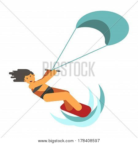 Dark-haired woman practices kiteboarding flat design on white background. Athletic girl skates on red board and clings blue parachute. Vector illustration of extreme sports on water web banner.