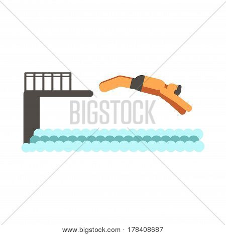 Adult human jumping back from black pier in ocean flat design isolated on white. Man dressed in swimming trunks vector illustration of diving process in cartoon style. Having fun at seaside poster
