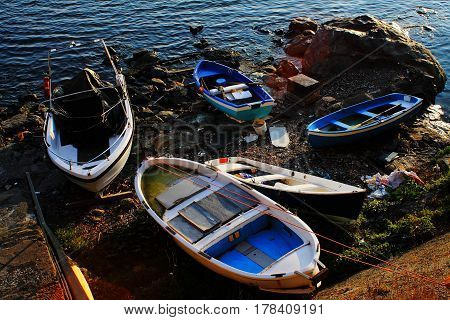 Fishing boats pulled dry and abandoned in Multedo calm channel