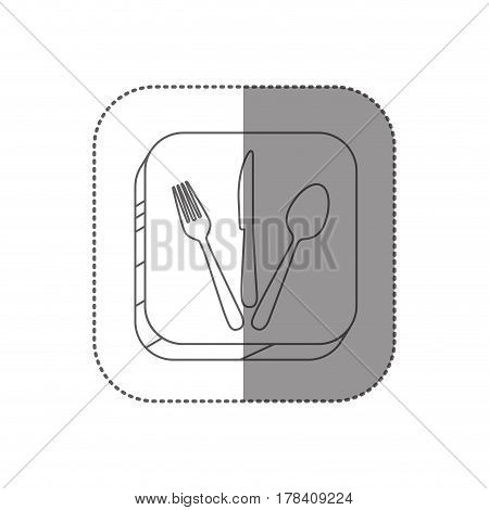 sticker square silhouette button with contour cutlery set vector illustration