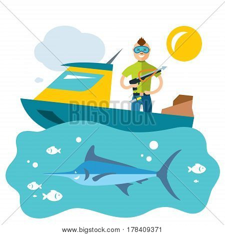 Fisherman boat with a harpoon at the ready to shoot Marlin. Isolated on a white background