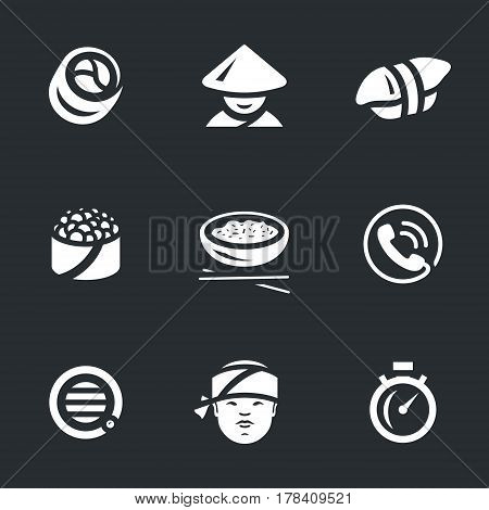 Roll, sushi, baked, rice, telephone, speaker, cook, stopwatch.