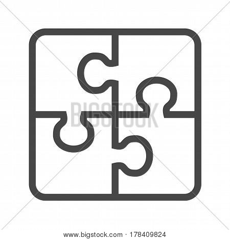 Puzzle Thin Line Vector Icon. Flat icon isolated on the white background. Editable EPS file. Vector illustration.