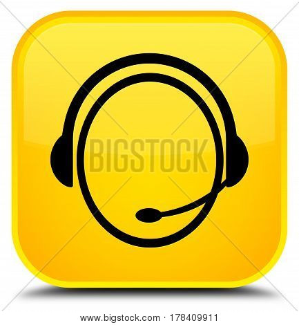 Customer Care Service Icon Special Yellow Square Button