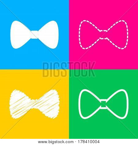 Bow Tie icon. Four styles of icon on four color squares.