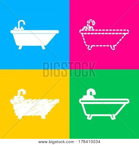 Bathtub sign illustration. Four styles of icon on four color squares.