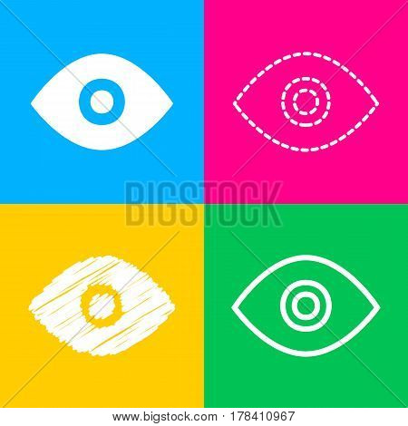 Eye sign illustration. Four styles of icon on four color squares.