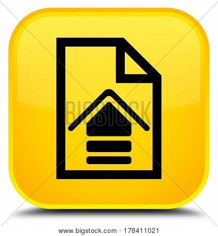 Upload Document Icon Special Yellow Square Button