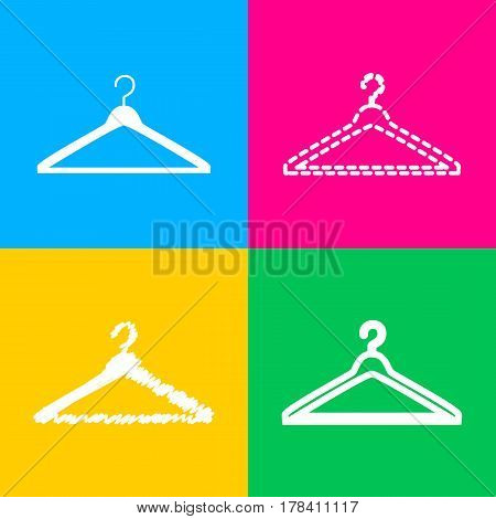 Hanger sign illustration. Four styles of icon on four color squares.