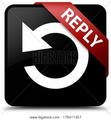 Reply (rotate Arrow Icon) Black Square Button Red Ribbon In Corner