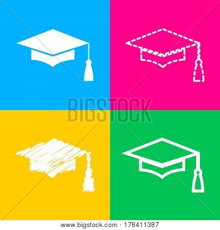 Mortar Board or Graduation Cap, Education symbol. Four styles of icon on four color squares.
