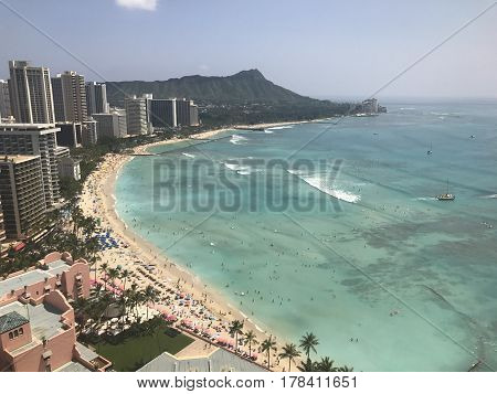 An aerial view of Waikiki Beach, in Honolulu. Photo taken March 11, 2017.