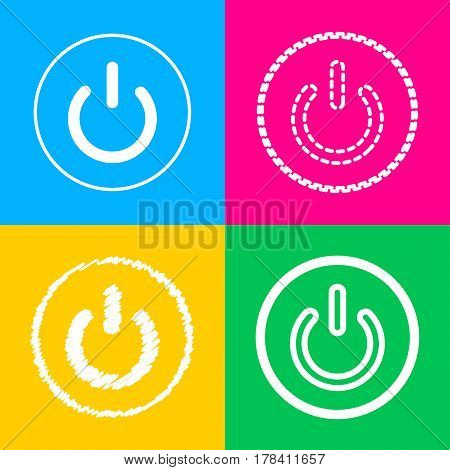 On Off switch sign. Four styles of icon on four color squares.
