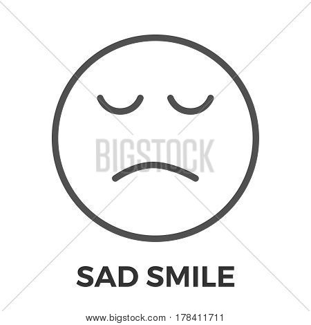 Sad Smile Thin Line Vector Icon Isolated on the White Background.