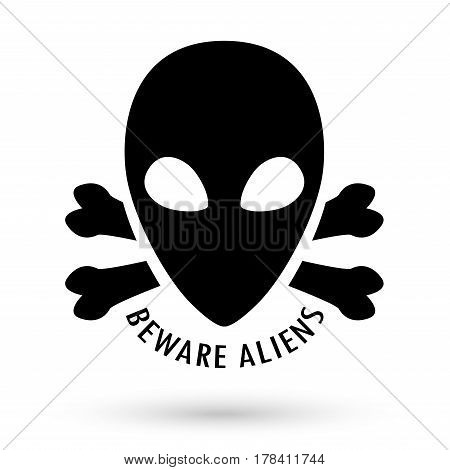 black beware alien with bone cross vector